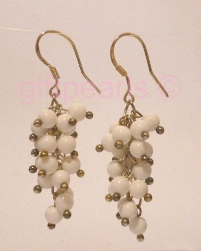 White coral cluster earrings